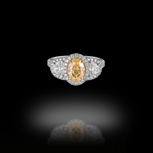 Yellow Diamond and Half Moons Trilogy Engagement Ring