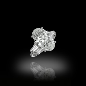 6 Carats Oval Solitaire Ring