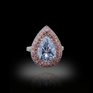 Pear Fancy Light Blue Diamond Ring