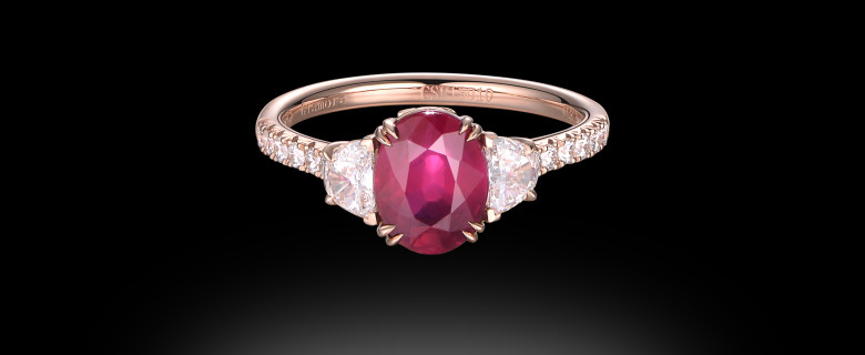 Ruby And Half Moon Ring
