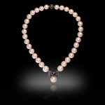 Pink Pearl and Black Diamond bow Necklace