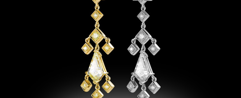 18K White and Yellow Gold Earrings